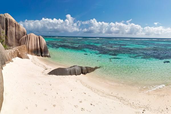 Strand Anse Source d`Argent auf La Digue, Seychellen