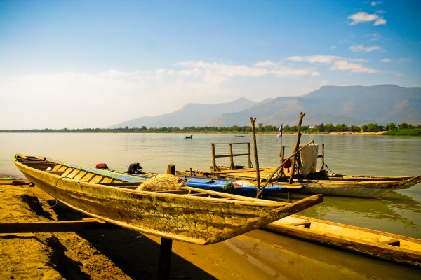 Boote in Champasak, Laos